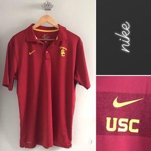 Nike USC Trojans Solid Red Polo Shirt • L